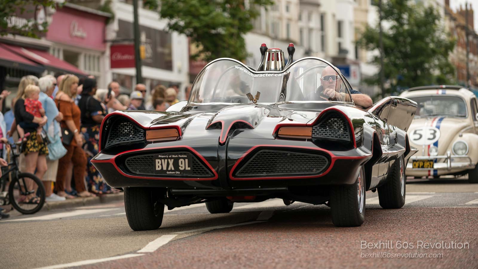 the Batmobile and Herbie at the Bexhill 60s Revolution