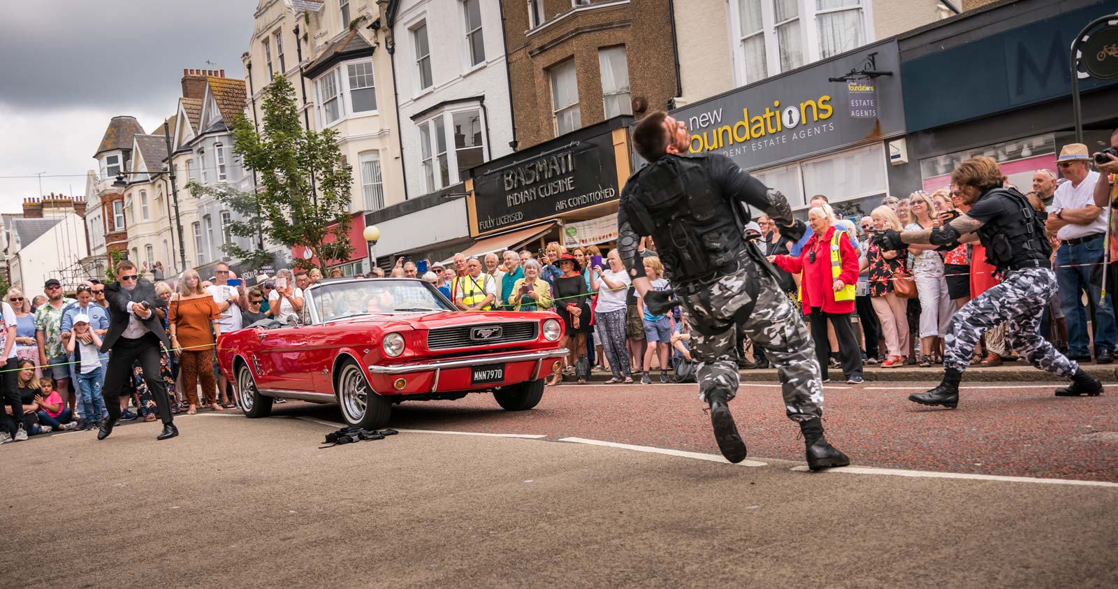 Bond stunt action in Bexhill Town Centre