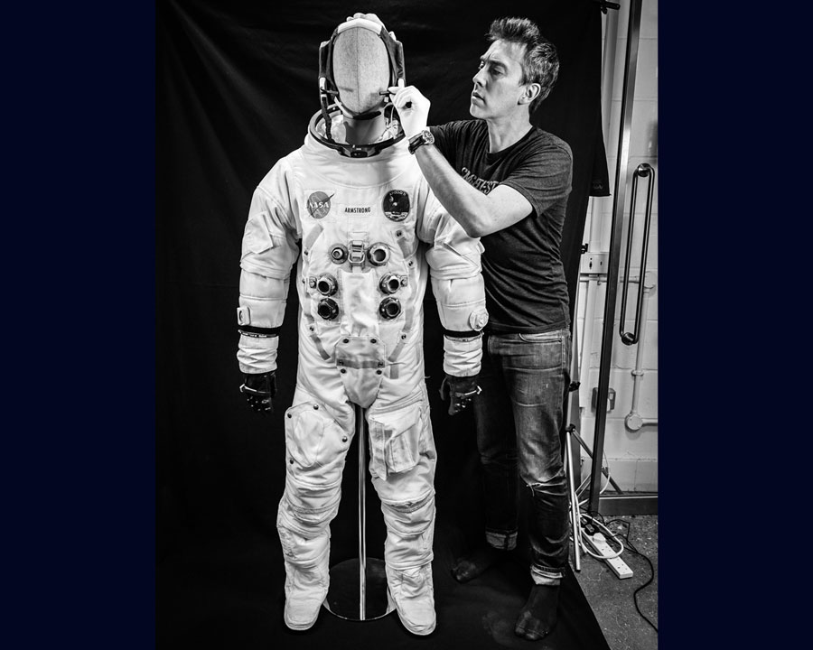 Dallas Campbell with his A7L Apollo spacesuit